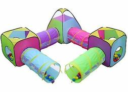 Kids 8pc Play Tent and Tunnel Pop up Playhouse Jungle Toy Se