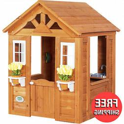 Playhouse 4 Ft. Victorian-style w/ Fenced Patio Outdoor Kids
