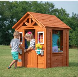 PLAYHOUSE KIDS OUTDOOR HOUSE w/ Accessories Cedar Wood