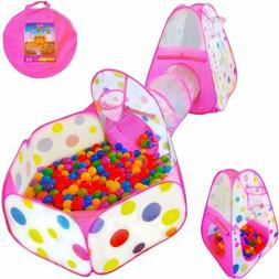 Playz 3Pc Kids Play Tent Crawl Tunnel And Ball Pit Pop Up Pl