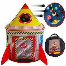 Playz 5-in-1 Rocket Ship Play Tent for Kids with Dart