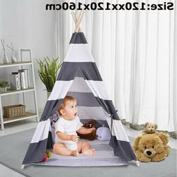 Portable Gray Teepee Tent Kids Playhouse Sleeping Dome Child
