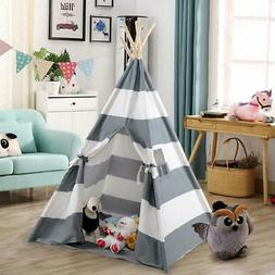 Portable Gray Teepee Tent Kids Playhouse Sleeping Dome Child