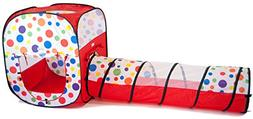 Pop Up Polka Dot Play Twist Tent and Tunnel Combo Kids Indoo