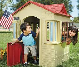 Little Tikes Tan & Red Pretend Play Cottage Playhouse Workin