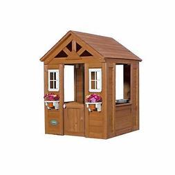 Backyard Discovery Timberlake Cedar Wood Playhouse Kids Outd