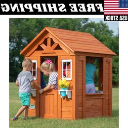 Backyard Discovery Timberlake Cedar Wooden Playhouse Play Ac