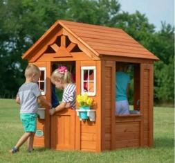 Backyard Discovery Timberlake Cedar Wooden Playhouse, Wood C
