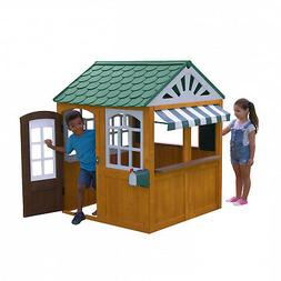 Easy Clean Backyard Wooden Playhouse Kids Café-style Cano
