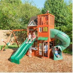 Wooden Cedar Summit Playhouse With Tunnel Slide Swings Rock